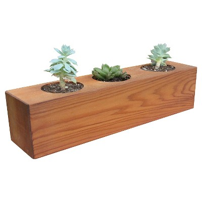 Succulent Three hole Rectangle Planter Western Clear Oil Finish - Red Cedar - Gronomics