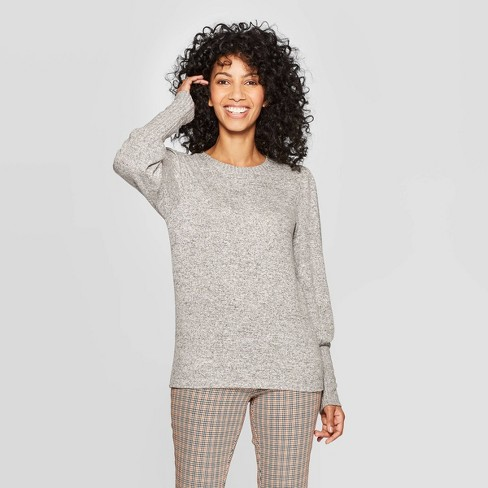 Women's Long Sleeve Crewneck Drapey T-Shirt - A New Day™ - image 1 of 3