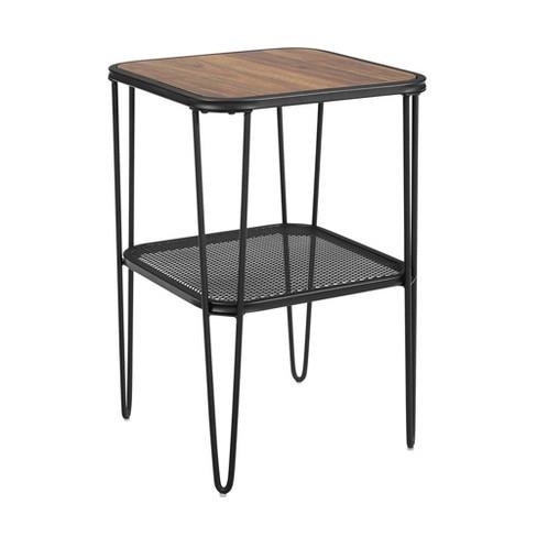 Industrial Hairpin Leg Side Table with Metal Mesh Shelf  - Saracina Home - image 1 of 5