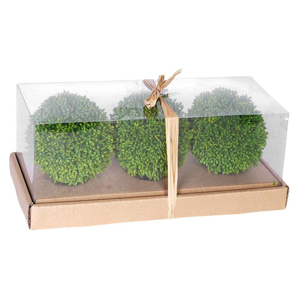 Image of Artificial Topiary Balls in Box Set of 3 - Green (4)