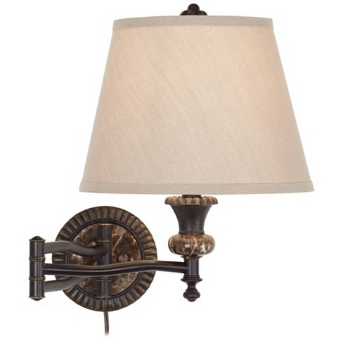 Swing Arm Wall Lamp Bronze Faux Marble