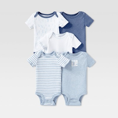 Lamaze Baby Boys' Organic Cotton 5pc Shorts sleeve Bodysuit Set - Blue 3M