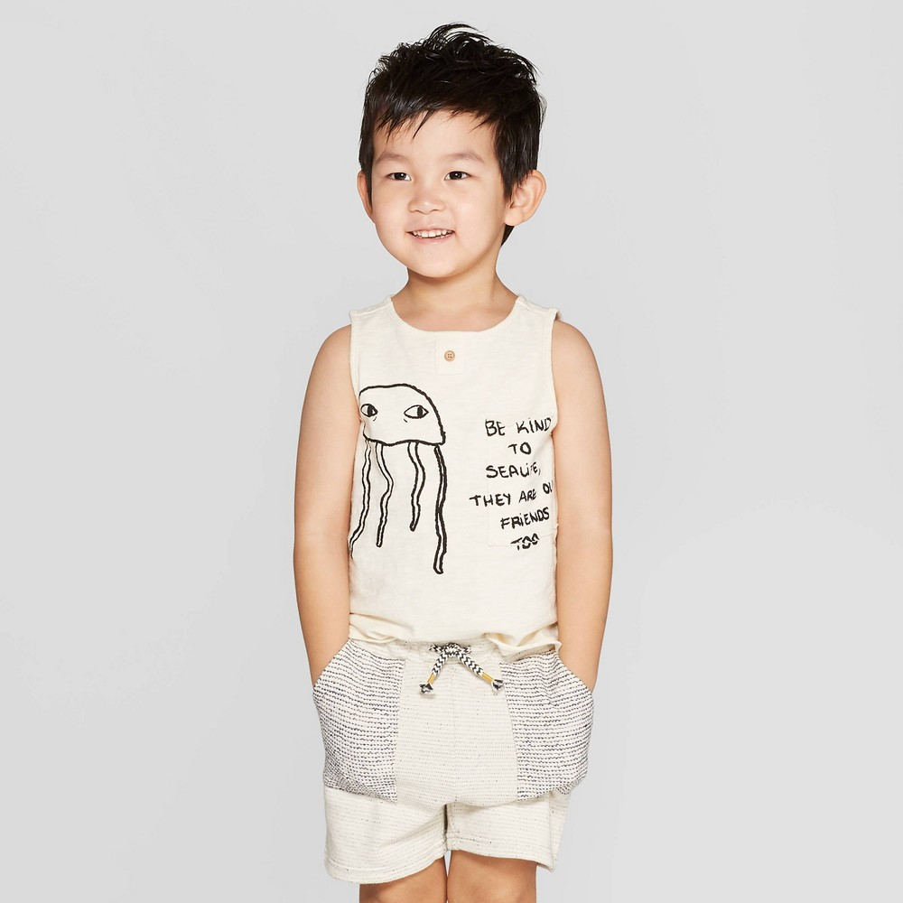 Toddler Boys' Jellyfish Pocket Tank Top - art class Ivory 4T, Beige