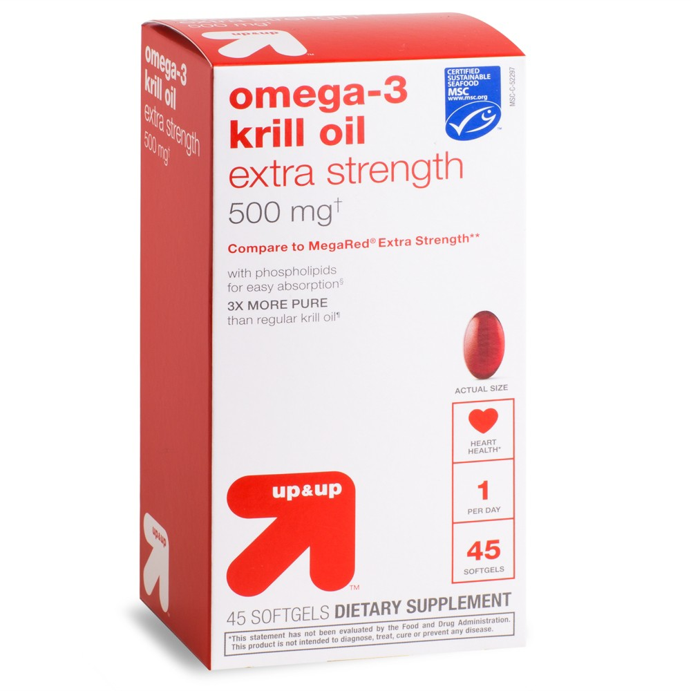 Omega-3 Krill Oil Extra Strength 500mg Softgels - 45ct - Up&Up
