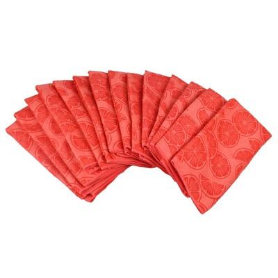 Set of 12 Red Grapefruit Citrus Dish Cloth - Design Imports