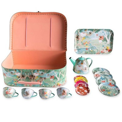 HearthSong 15-Piece Fairy-Themed Tin Tea Set with Carrying Case for Kids Imaginative Play