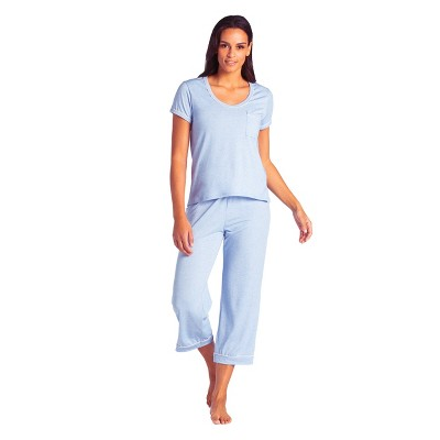 Softies Women's Short Sleeve ​Capri-Length PJ Set with Contrast Piping