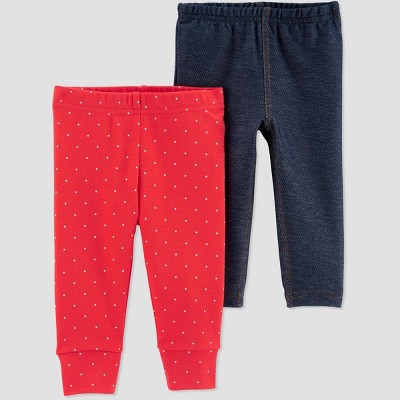 Baby Girls' 2pk Poppy Leggings - Just One You® made by carter's Pink/Navy 3M