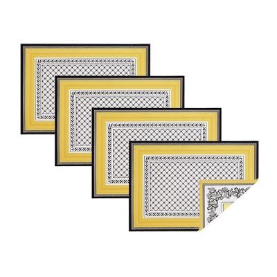 "Villeroy & Boch - Audun Cotton Fabric Reversible Set of 4 Placemats - 14"" x 20"" - Yellow"