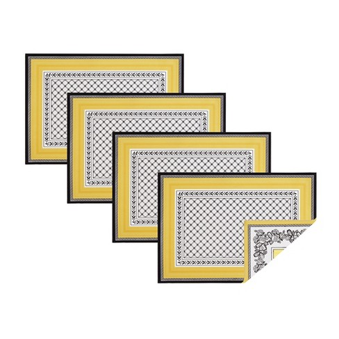 """Villeroy & Boch - Audun Cotton Fabric Reversible Set of 4 Placemats - 14"""" x 20"""" - Yellow - image 1 of 3"""