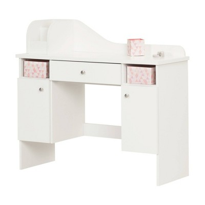 Vito Makeup Desk with Drawer Pure White/Pink - South Shore