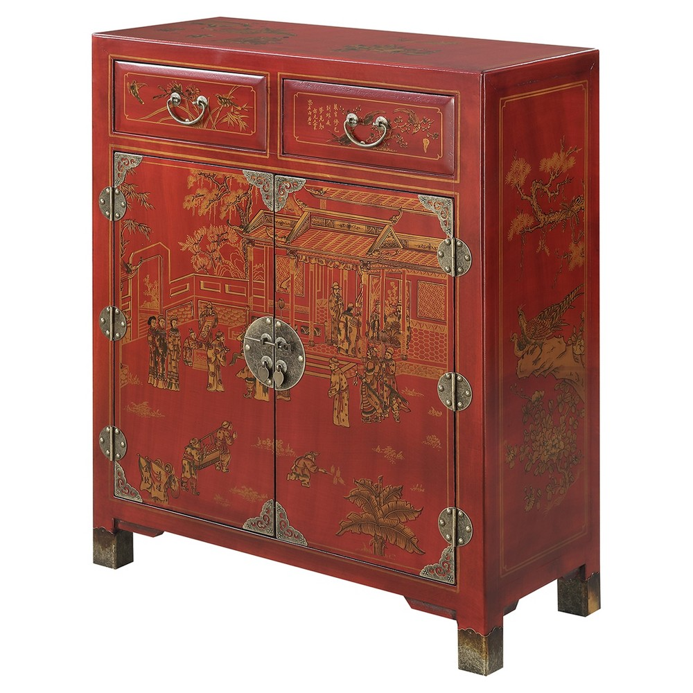 Touch of Asia 2 Drawer Hall Console with Shelves - Red - Convenience Concepts