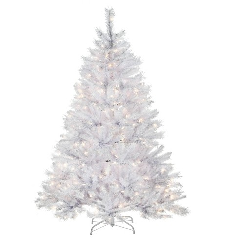 National Tree Company 6ft Pre Lit Winchester White Pine Hinged Artificial With Silver Glitter And 350 Clear Lights