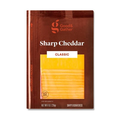 Sharp Cheddar Deli Sliced Cheese - 8oz/12 slices - Good & Gather™