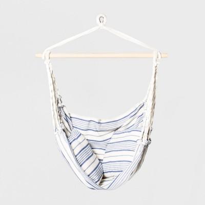 Linen Striped Hammock Chair With Spreader Bar Blue Threshold