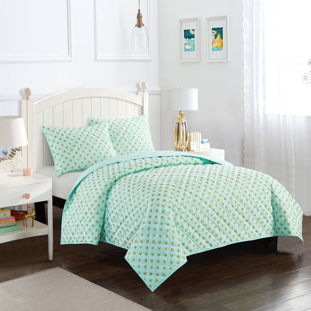 Image of Full Metallic Star Quilt Set Mint Green - Heritage Club
