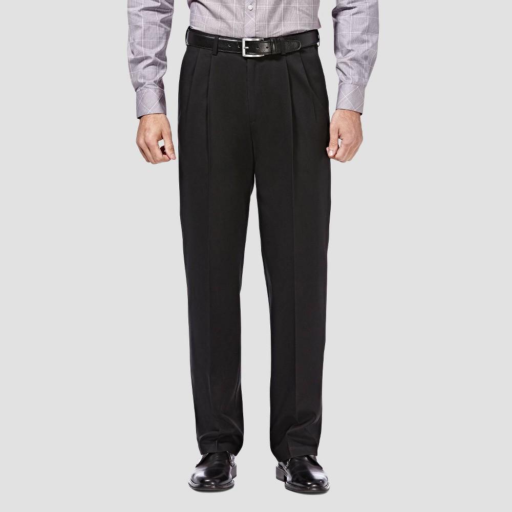 Haggar Men 39 S Premium No Iron Classic Fit Pleated Casual Pants Black 38x31