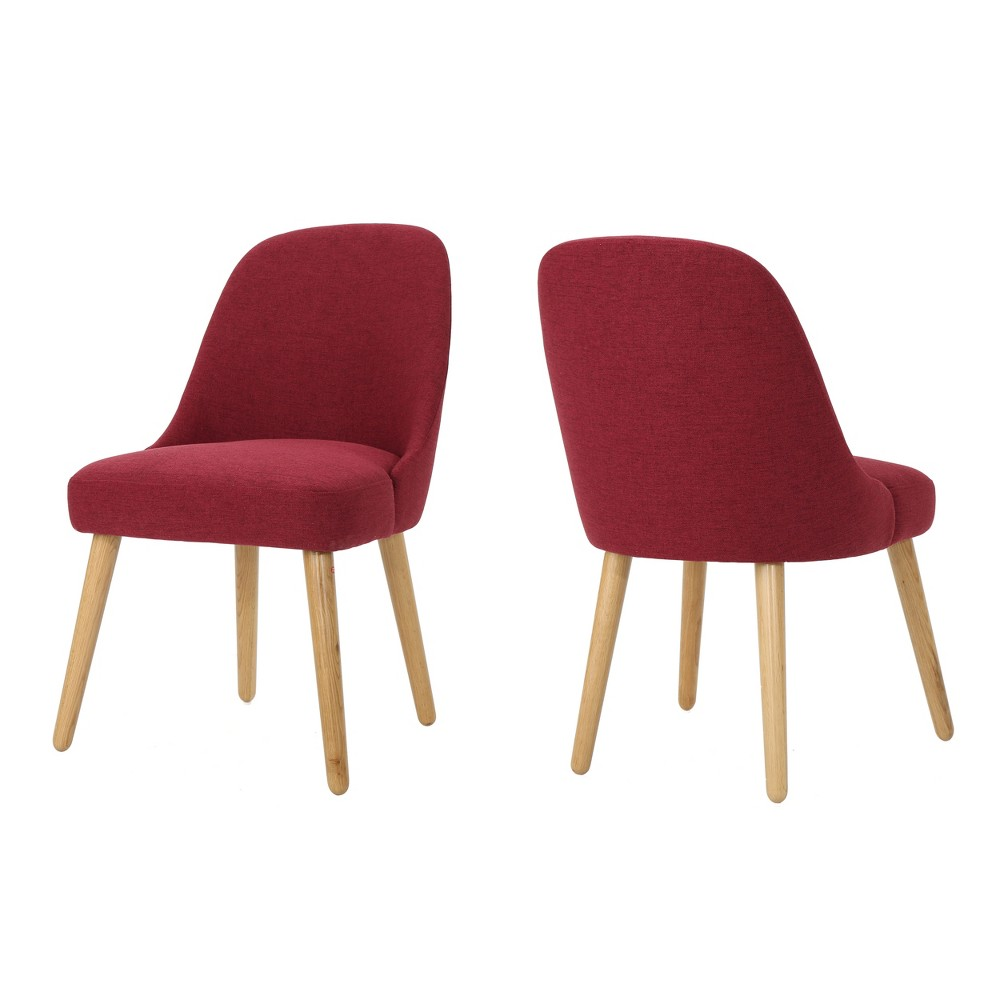 Set of 2 Trestin Mid Century Dining Chair Deep Red - Christopher Knight Home