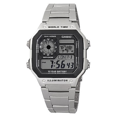 Men's Casio Bracelet Watch with World Time - Silver (AE1200WHD-1A)