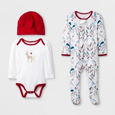 Baby Girls' Cute & Cozy Deer 3pc Set - Cloud Island™ Red/White Newborn