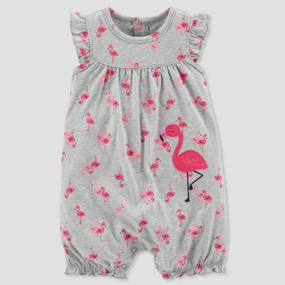 Baby Girls' 1pc Flamingo Romper - Just One You® made by carter's Gray 3M