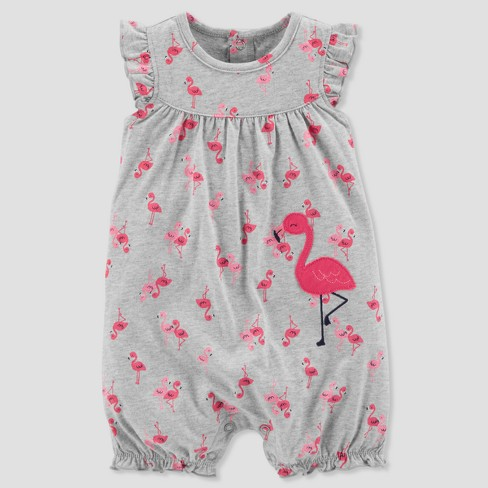 Baby Girls' 1pc Flamingo Romper - Just One You® made by carter's Gray - image 1 of 1
