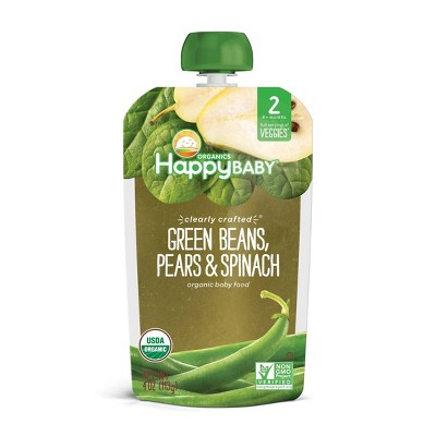 HappyBaby Clearly Crafted Green Beans Pears & Spinach Baby Food Pouch - 4oz