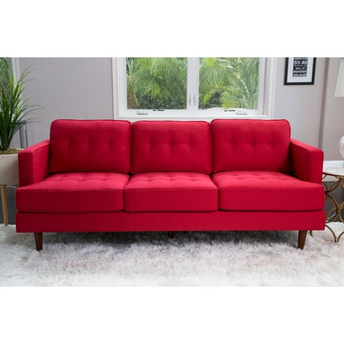 Porter Mid Century Tufted Sofa - Red - Abbyson : Target