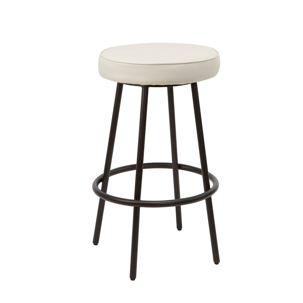 "Image of ""29"""" Carly Modern Backless Barstool with Round Upholstered Seat In Gunmetal - Silverwood"""