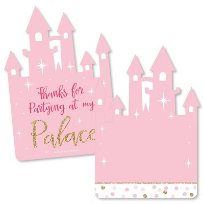 Big Dot of Happiness Little Princess Crown - Shaped Thank You Cards - Baby Shower or Birthday Party Thank You Note Cards with Envelopes - Set of 12