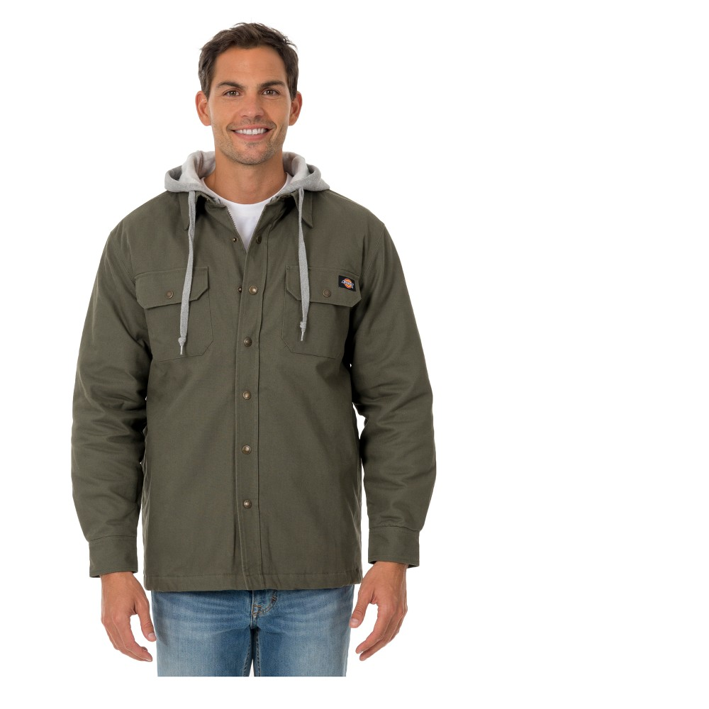 Dickies Men's Hooded Canvas Shirt Jackets - Light Sage S
