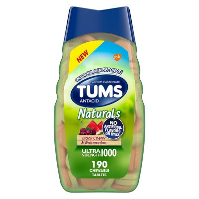 Tums Naturals Ultra Strength Antacid Chewable Tablets - Black Cherry & Watermelon