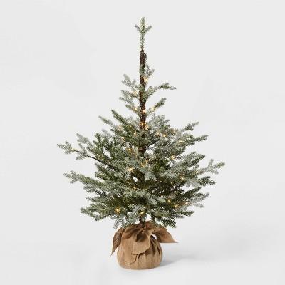 3.5ft Pre-Lit Glittered Balsam Fir Artificial Tree Dew Drop LED Lights - Wondershop™