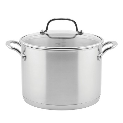 KitchenAid 3-Ply Base Stainless Steel 8qt Stockpot with Lid