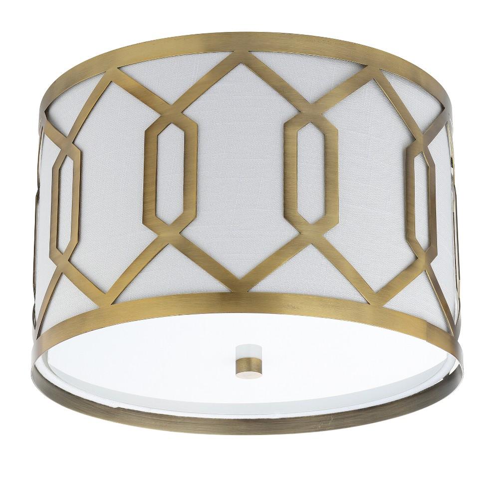 Image of 12.25 Hex 2 Light Led Flush Mount Ceiling Light Brass - Jonathan Y