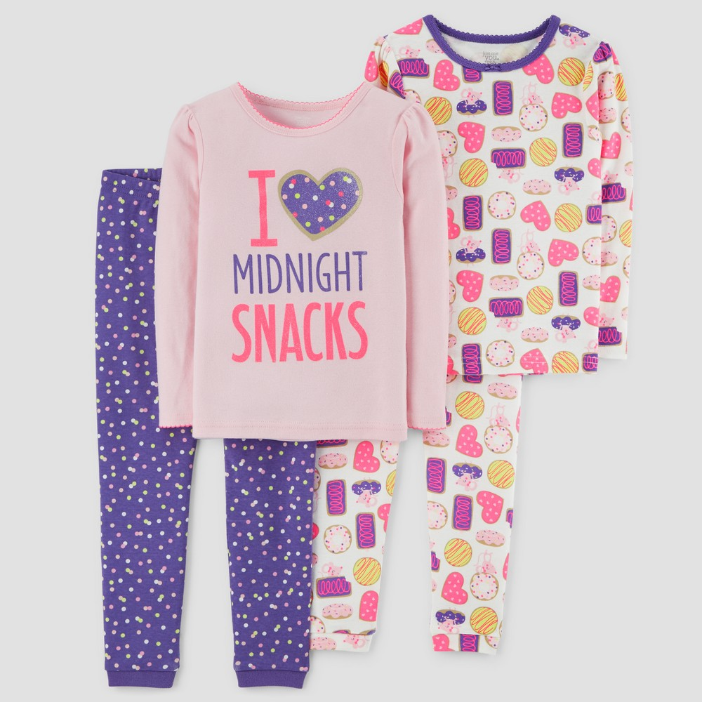 Toddler Girls' 4pc Midnight Snacks Long Sleeve Pajama Set - Just One You made by carter's Pink 4T