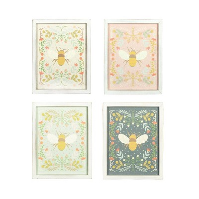 """Set of 4 Styles 16"""" Florals and Bee Wood Decorative Wall Art - 3R Studios"""