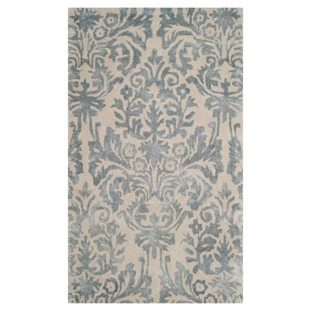 Ivory/Silver Leaf Tufted Accent Rug 3'X5' - Safavieh