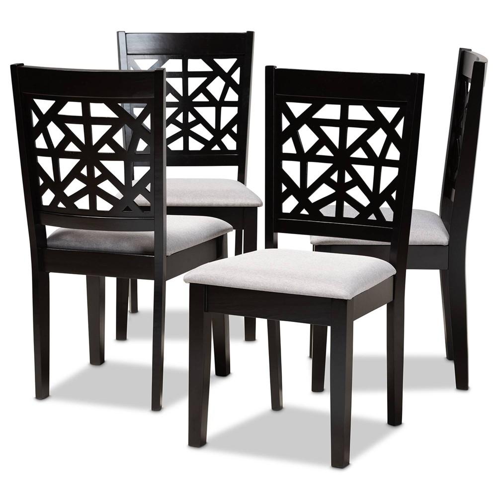 Set Of 4 Jackson Dining Chair Gray Espresso Baxton Studio