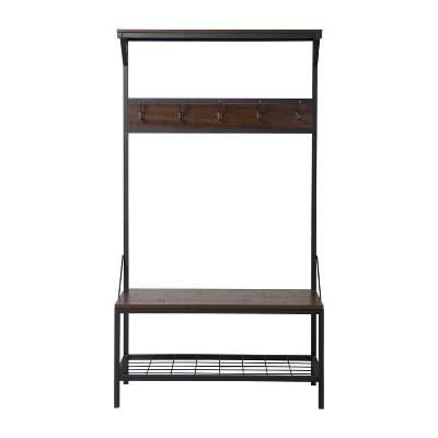 3-Shelf Wide Hall Tree Bench - Antique Dark Brown 39  - Homestar
