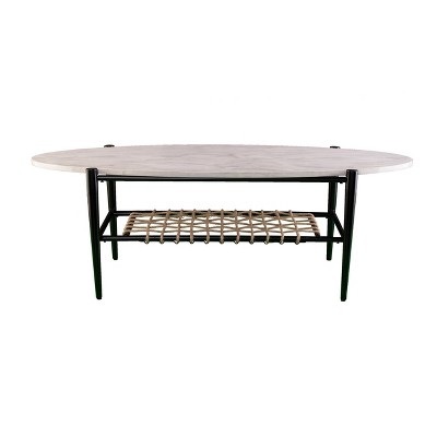 Relckin Faux Marble Cocktail Table White/Black - Holly & Martin