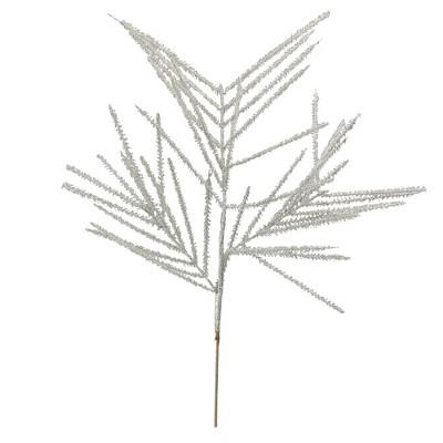 "Ganz 27"" White Glittered Wispy Wheat Artificial Christmas Spray"