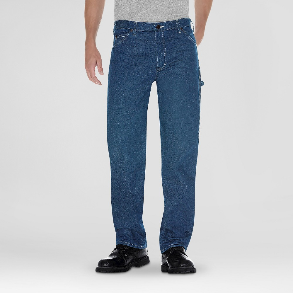 Dickies Men's Relaxed Straight Fit Denim Carpenter Jeans - Stone Washed 40X34