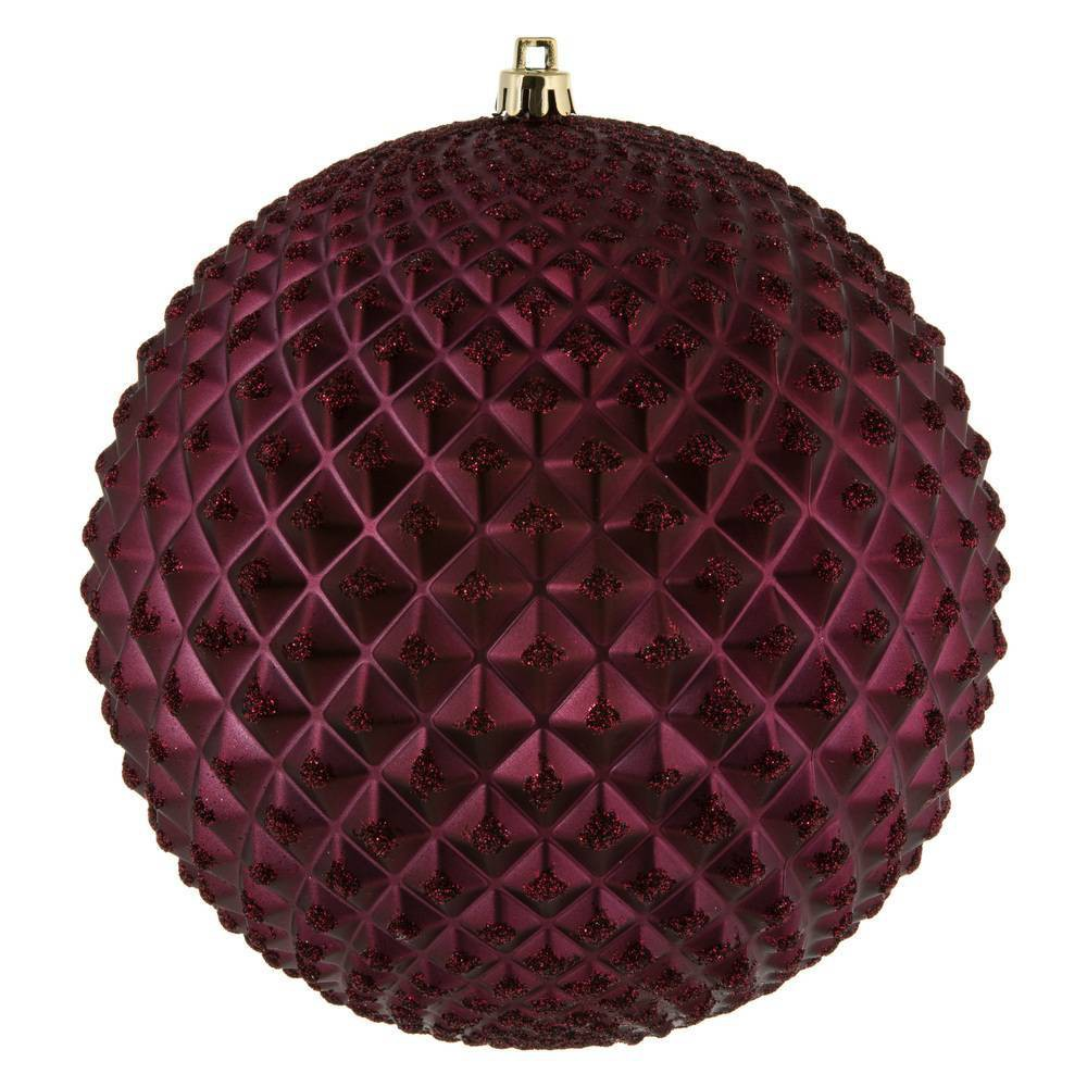 "Image of ""4ct Vickerman 6"""" Durian Glitter Ball Ornament Wine"""