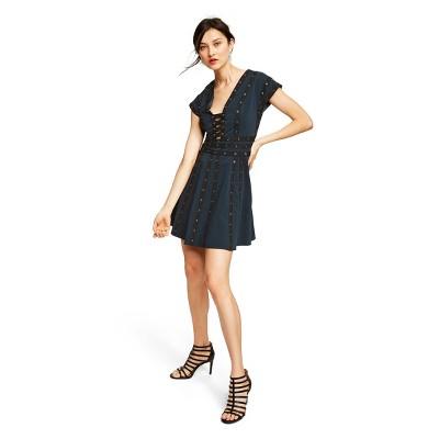 Women's Snap Detail Short Sleeve V Neck Shift Mini Dress   Zac Posen For Target Navy by Neck Shift Mini Dress