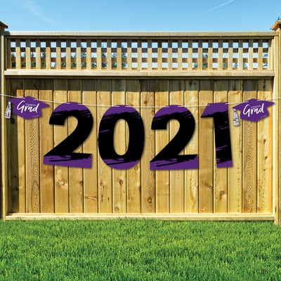 Big Dot of Happiness Purple Grad - Best is Yet to Come - Large Purple Graduation Party Decorations - 2021 - Outdoor Letter Banner