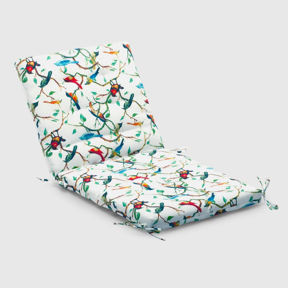 Spring Birds Outdoor Tufted Chair Cushion - Threshold, White