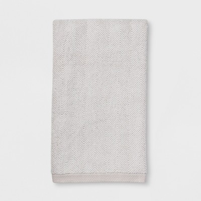 Textured Herringbone White Bath Towel Off White - Threshold™