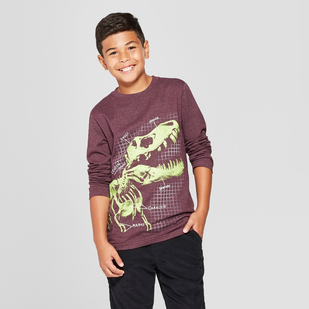 Boys' Dino Skeleton Long Sleeve Graphic T-Shirt - Cat & Jack Purple Heather XS