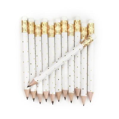 12pk Mini Pencils Polka Dots Foil Gold